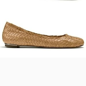 Coach Florence Woven Leather Flats Nude Natural